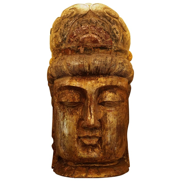 Large Gilt Buddha Head Wood Carved, 19th Century
