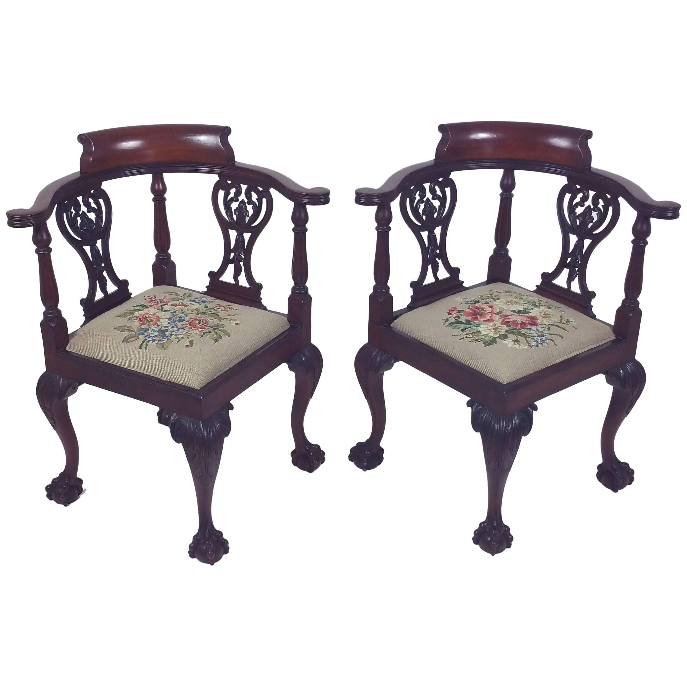 pair of late 19th century chippendale design carved mahogany corner chairs
