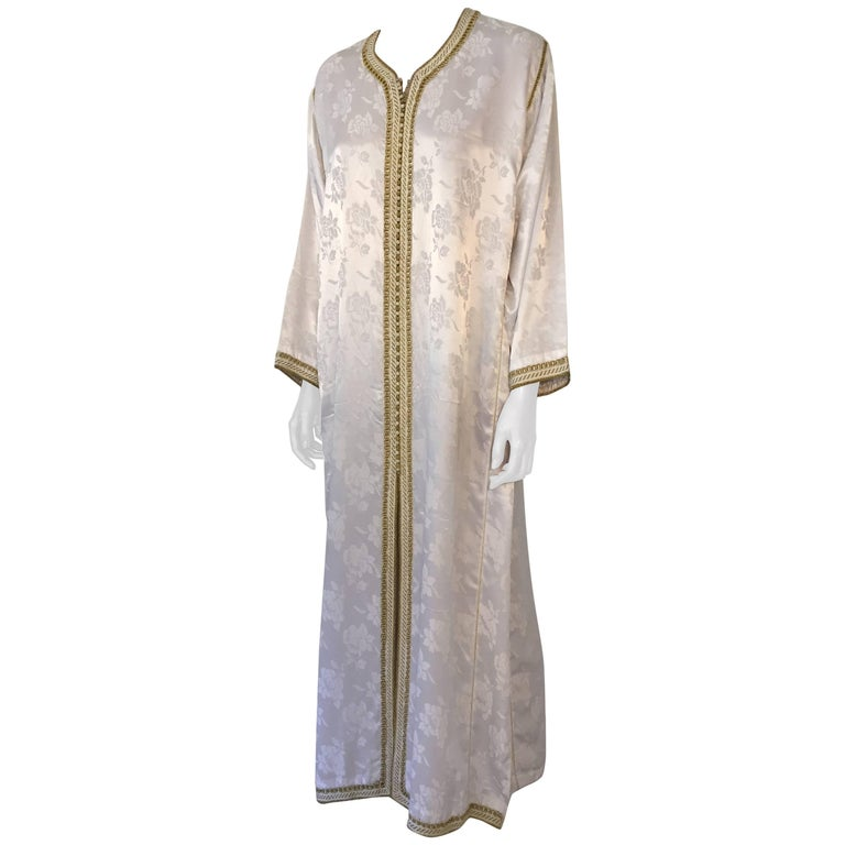 Moroccan Caftan Gown White Embroidered with Gold Trim, circa 1970