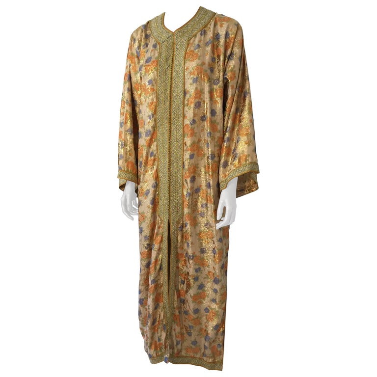 Moroccan Brocade Floral Kaftan Gown Maxi Dress For Sale