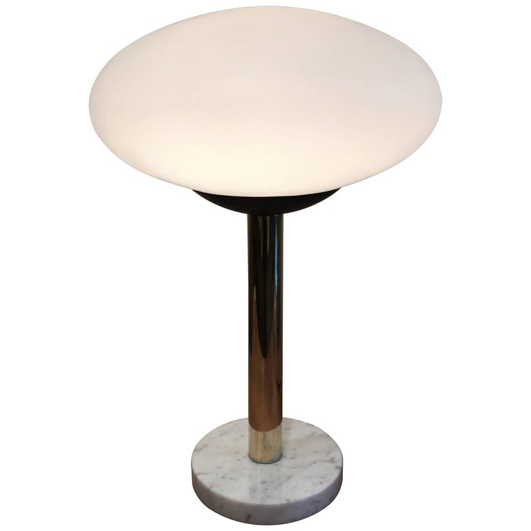 American Modern Saucer Table Lamp with Marble Base, 1960s 1