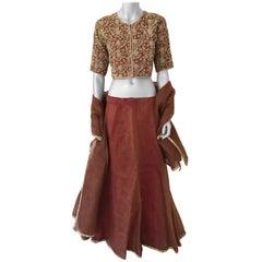 Bollywood Star Silk Sari Custom Designer Beaded Embroidered Gown
