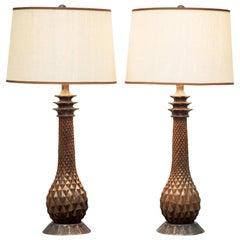French Carved Pineapple Table Lamps
