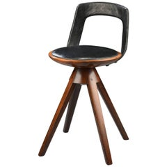 Swivel Stool with Backrest In Rosewood by Tove & Edvard Kindt-Larsen