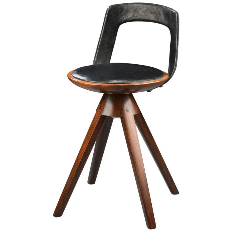 Swivel Stool with Backrest In Rosewood by Tove & Edvard Kindt-Larsen 1