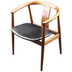 Armchair by Tove & Edvard Kindt-Larsen in Mahogany and Black Leather