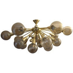 Half Sputnik Golden Color Murano Glass Globes Chandelier