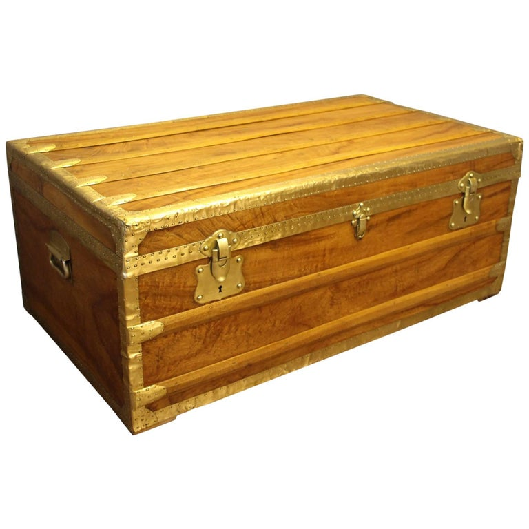 1900s Camphor Wood and Brass Cabin Trunk