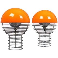 Original Pair of Table Lamps, Model Wire Lamp Designed by Verner Panton