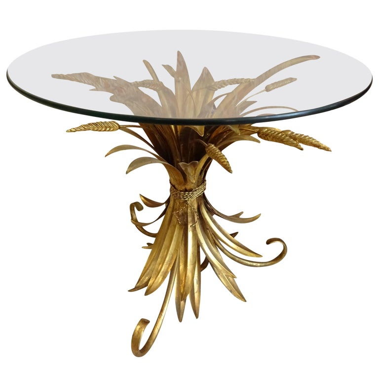 Mid-20th Century Gilded Wheat Sheaf Glass Side Table