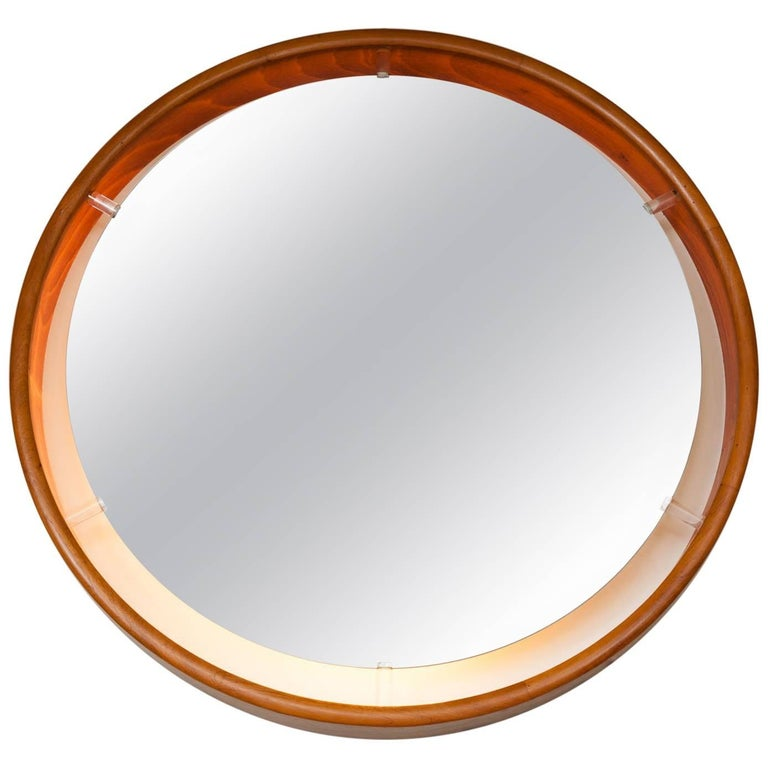 1970s Large Illuminated Rosewood and Lucite Wall Hanging Mirror