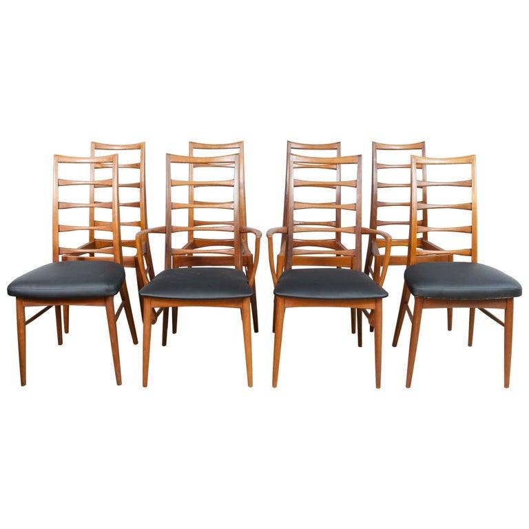 Set of 8 Danish Teak Ladder Back Niels Koefoed Dining Chairs, Koefoed Hornslet