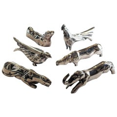 Set of Six French Art Deco Animalier Knife Rests by Benjamin Rabier