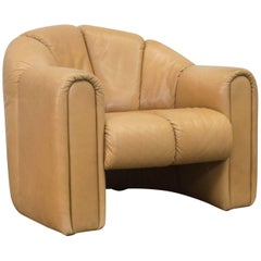COR Designer Leather Armchair Brown One Seat Vintage Retro