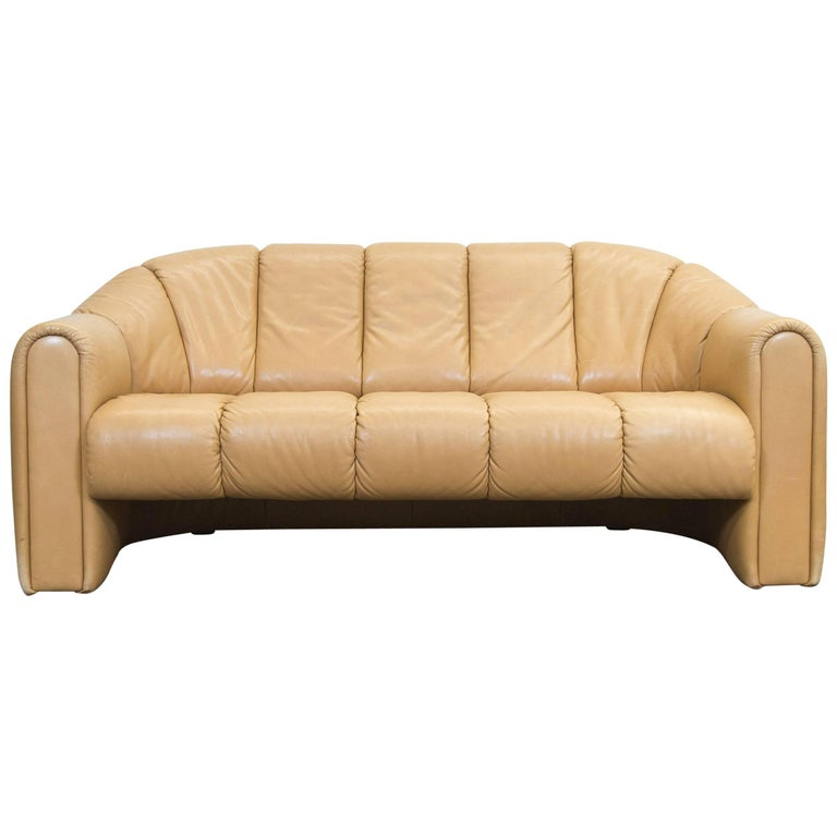 cor designer leather sofa brown two seat couch vintage retro at 1stdibs. Black Bedroom Furniture Sets. Home Design Ideas