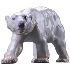 Stamped Polar Bear by Knud Kyhn in Glazed Stoneware Made by Bing & Grøndahl