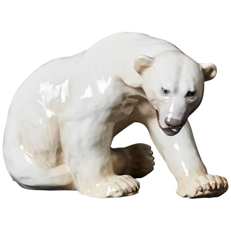 Stamped Polar Bear by Knud Kyhn in Glazed Stoneware Made by Bing & Grøndahl