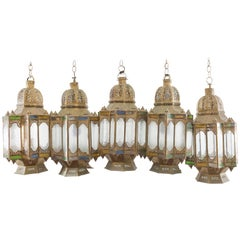 Moroccan Cluster of Pendants, Filigree with Green, Blue and White Glass Panes