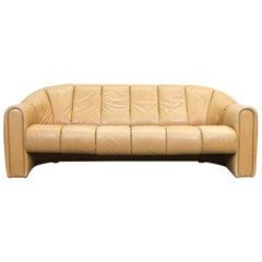 COR Designer Leather Sofa Brown Three-Seat Couch Vintage Retro