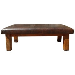 Early 20th Century Gymnastic Leather Bench
