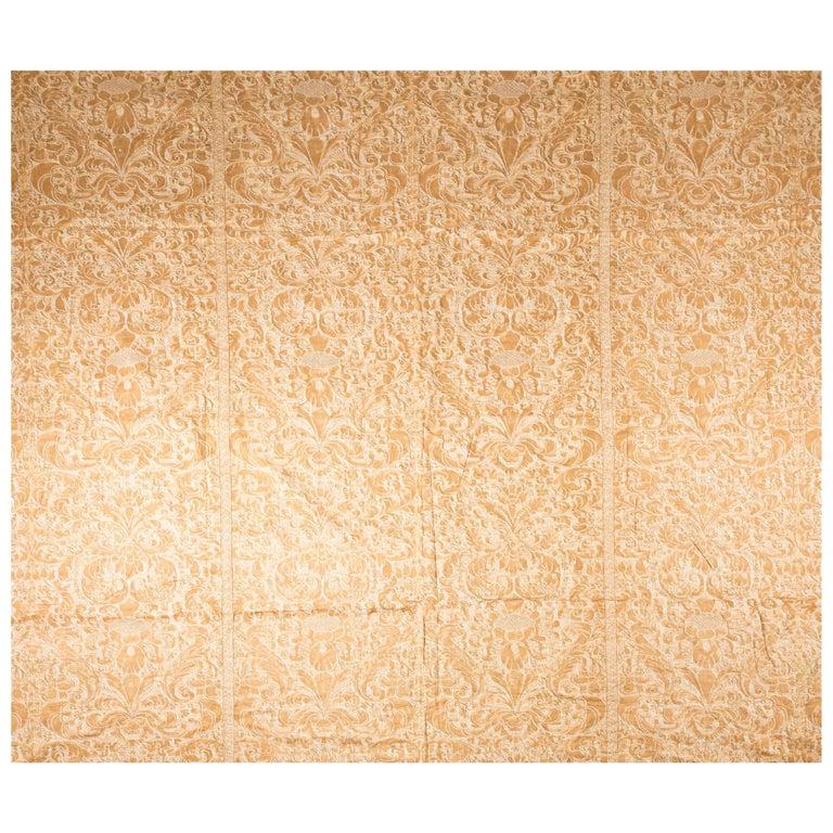 Kingsize Gold and White Fortuni Barbarizi Design Bedspread For Sale