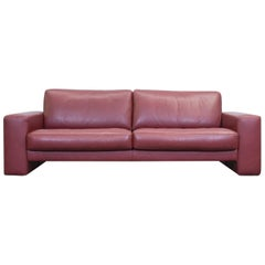 Koinor Designer Leather Sofa Red Three-Seat Couch Modern