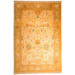 Persian Tebriz Handwoven Gold, Yellow, Pink and Blue Carpet