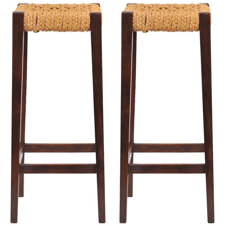 Pair of Bar Stools by Audoux-Minet