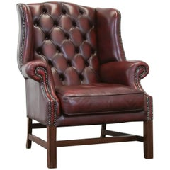 Chesterfield Wingchair Oxblood Red Armchair One Seat Vintage Retro