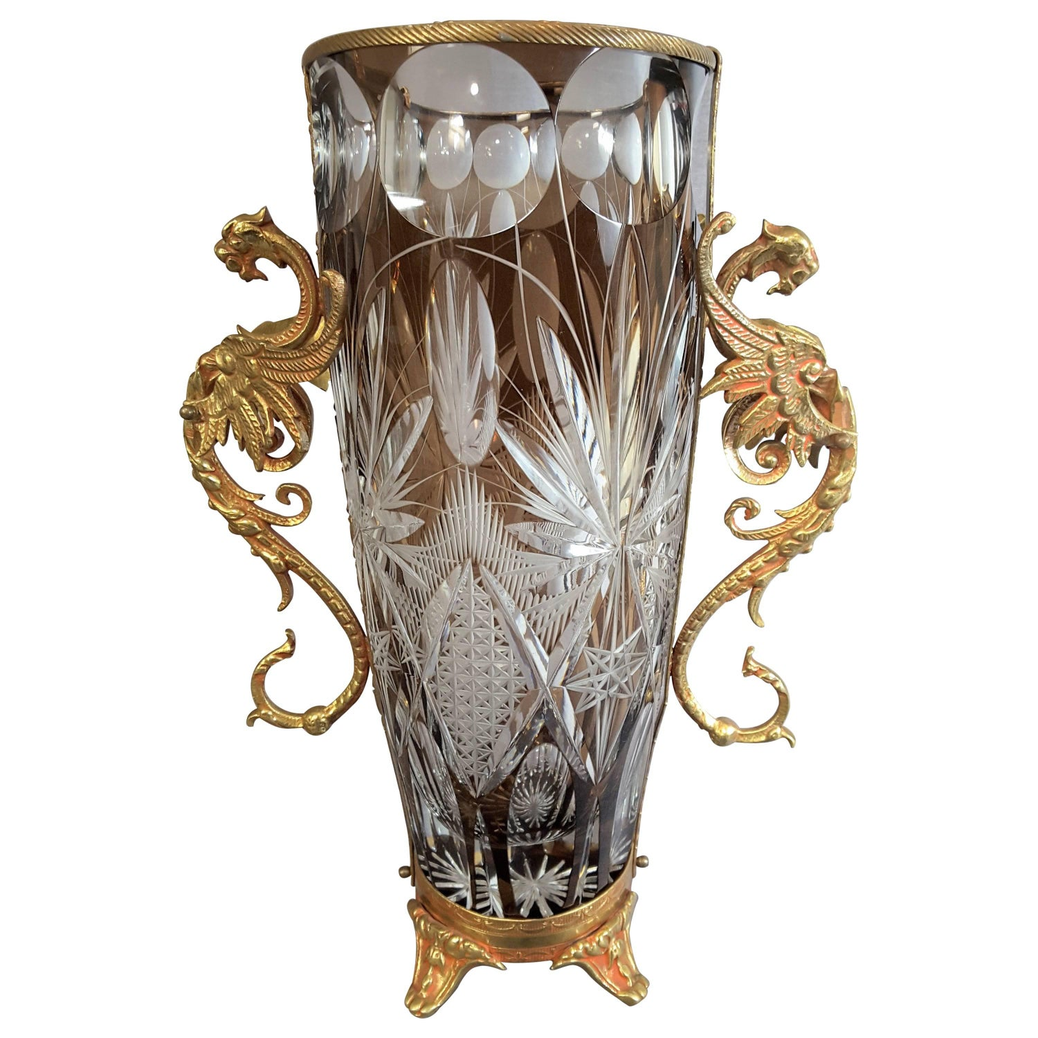 Winged griffin mounted colored cut crystal vase for sale at 1stdibs reviewsmspy