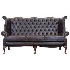 Centurion Chesterfield Leather Sofa Brown Queen Anne Vintage Retro Three-Seat