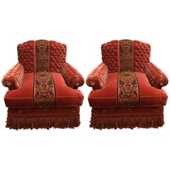 Parisian Chic Ornate Pair of Silk Velvet Tufted Club Chairs