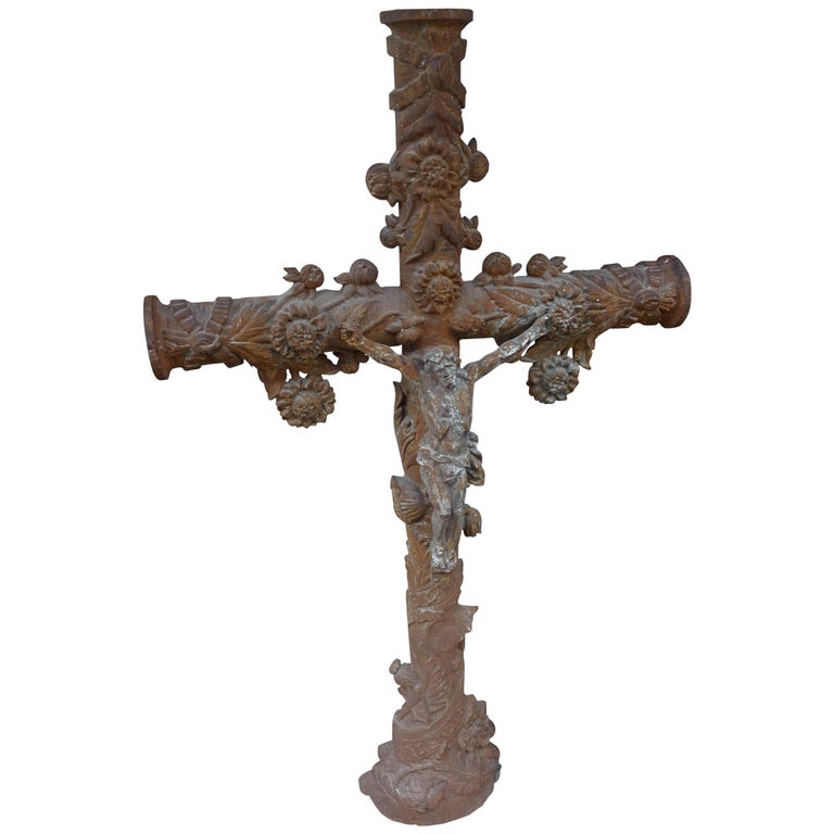 French 19th Century Cast Iron Crucifix For Sale