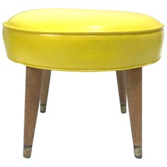1950s Stool Maple Wood Legs, Brass Ferules, Yellow Vinyl Paul Mc Cobb Attrib.