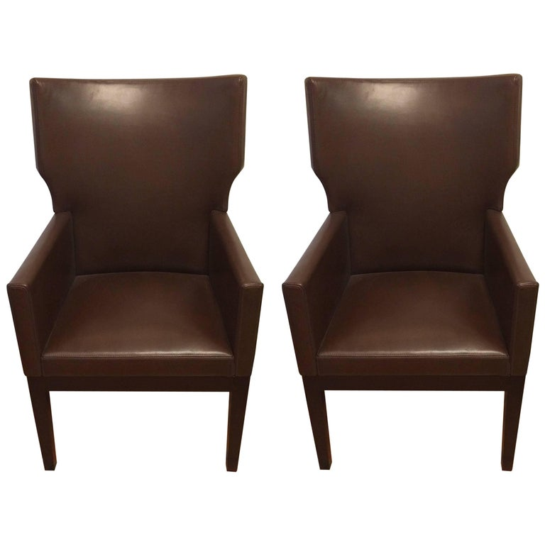 Pair of Christian Liaigre for Holly Hunt Leather Arm Chairs