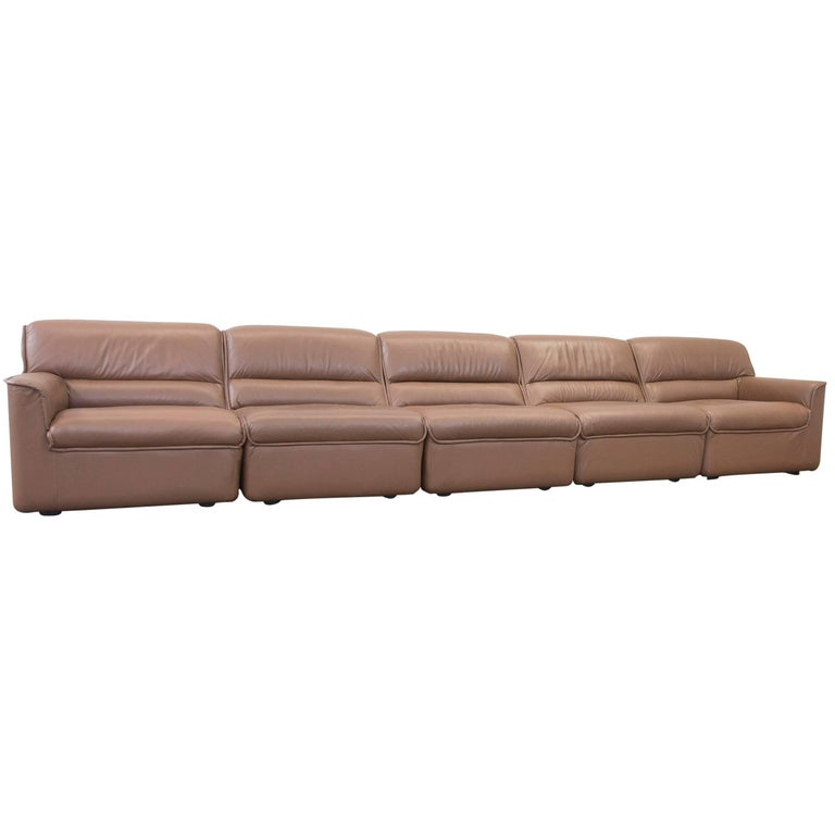 cor designer leather modular sofa set brown couch vintage retro for sale at 1stdibs. Black Bedroom Furniture Sets. Home Design Ideas
