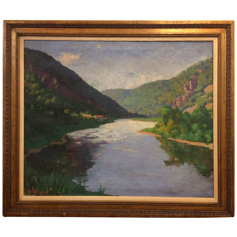 Large Landscape Oil on Canvas Painting