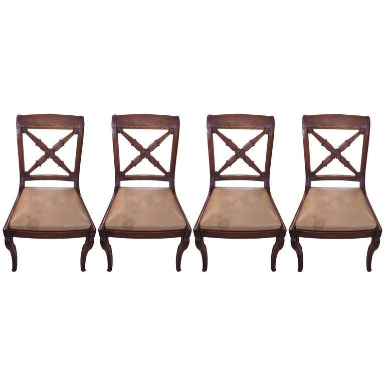 Set of Four Handsome Antique Regency Mahogany Dining Chairs