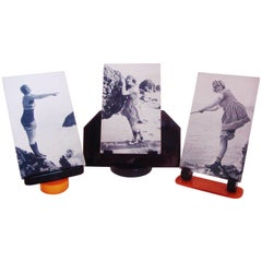 Three Art Deco Black & Amber Phenolic Resin with Lucite Postcard Display Stands