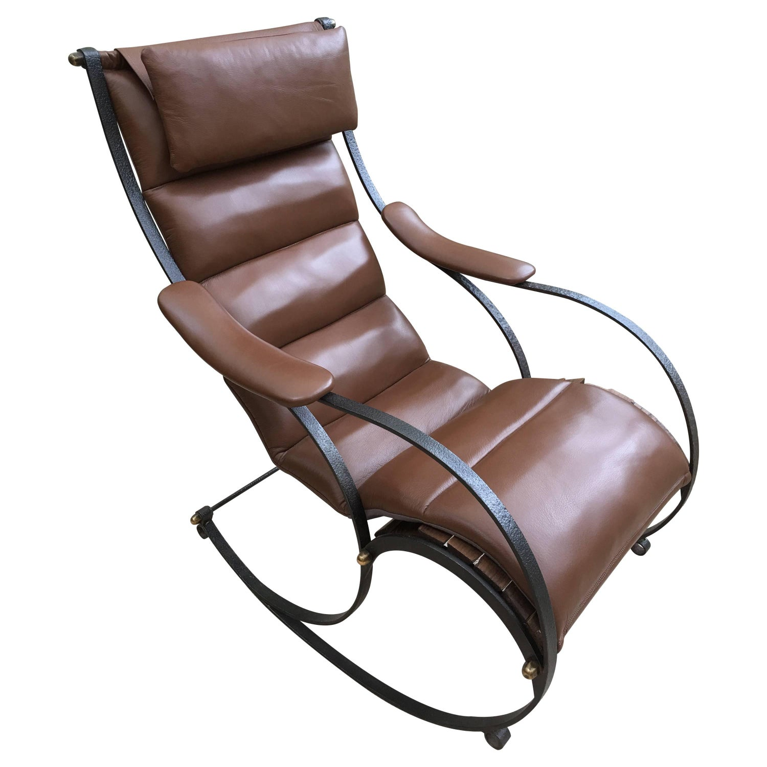 RW Winfield Design 19th Century Steel and Brown Leather Rocking