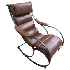 RW Winfield Design 19th Century Steel and Leather Rocking Chair