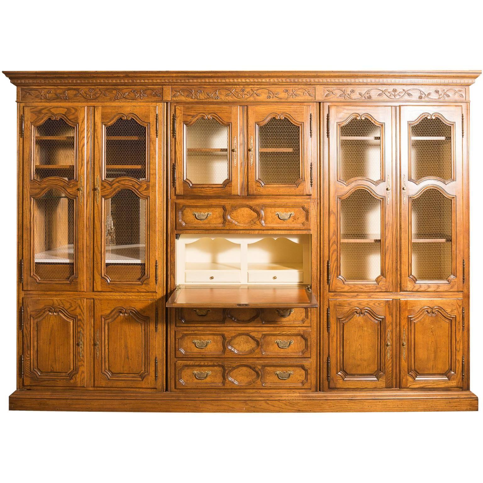Country French Walnut Baker Secretary With Drop Desk Mini Bar And Lattice  Doors