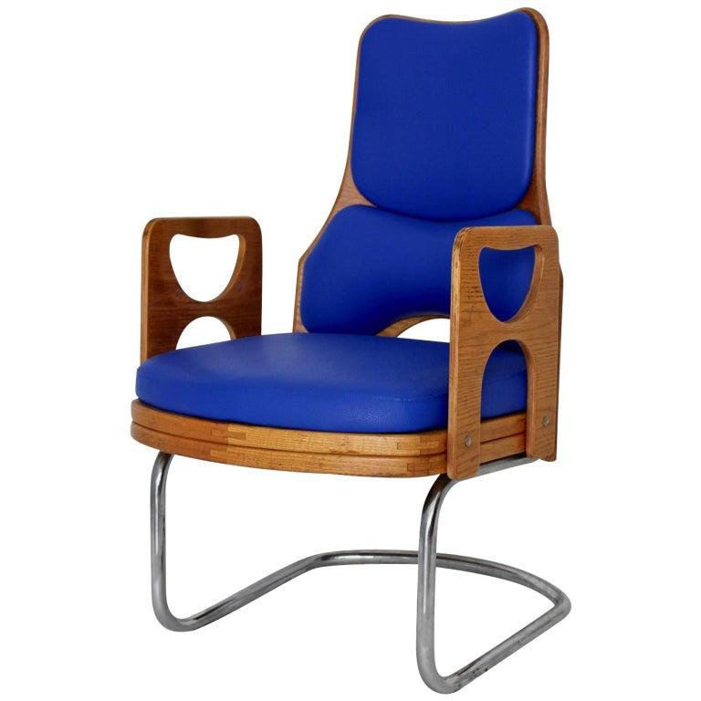 Blue Armchair Scandinavian Mid-Century Modern, 1960s For Sale