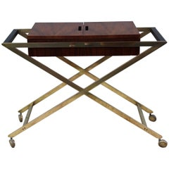 John Widdicomb X-Base Brass Bar Cart
