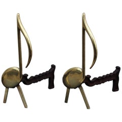 Music Notes Brass Andirons
