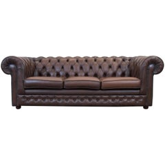 Thomas Lloyd Chesterfield Leather Sofa Brown Three-Seat Couch Vintage Retro