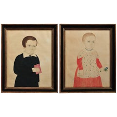 Rare Pair of Portraits of a Boy Holding a Red Book and a Girl Holding a Bouquet