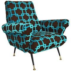 Italian Velvet Armchair with New Upholstery, 1950s