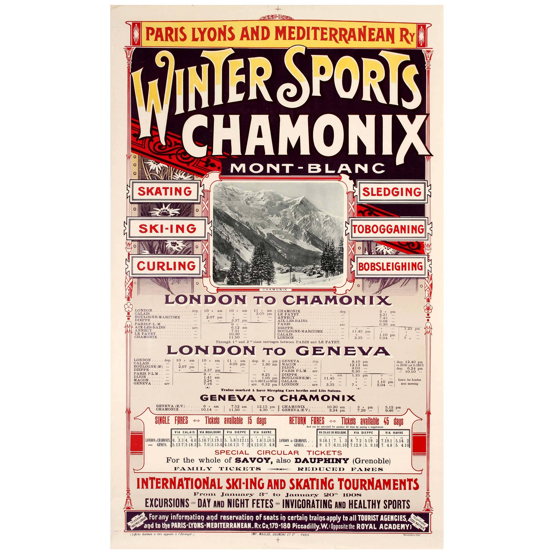Original Antique PLM Railway Poster - Skiing & Winter Sports Chamonix Mont Blanc
