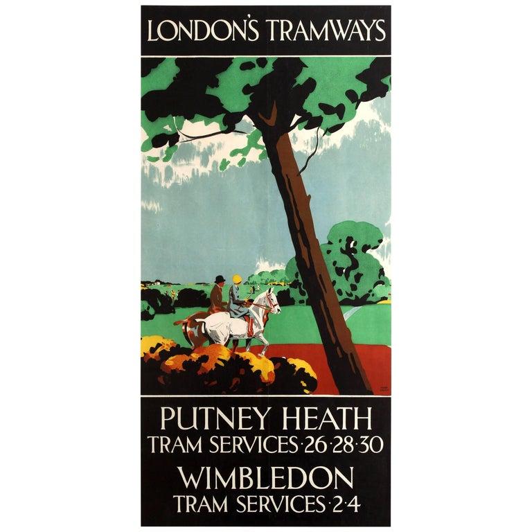 Original Vintage Art Deco London Tramways Poster for Putney Heath and Wimbledon For Sale